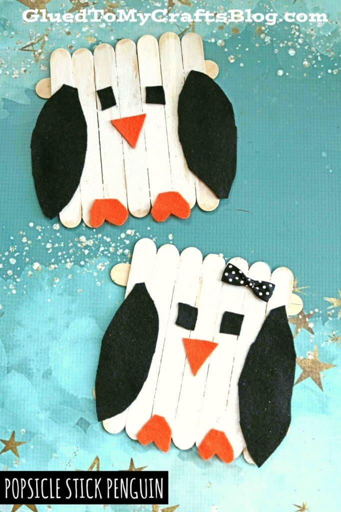 Popsicle Stick and Craft Felt Penguin Puppet Friend - Winter Kid Craft Idea