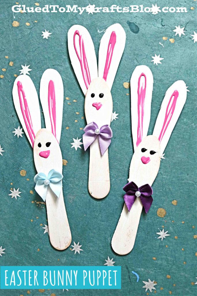 Wooden Scoop Stick Easter Bunnies - Kid Craft Idea