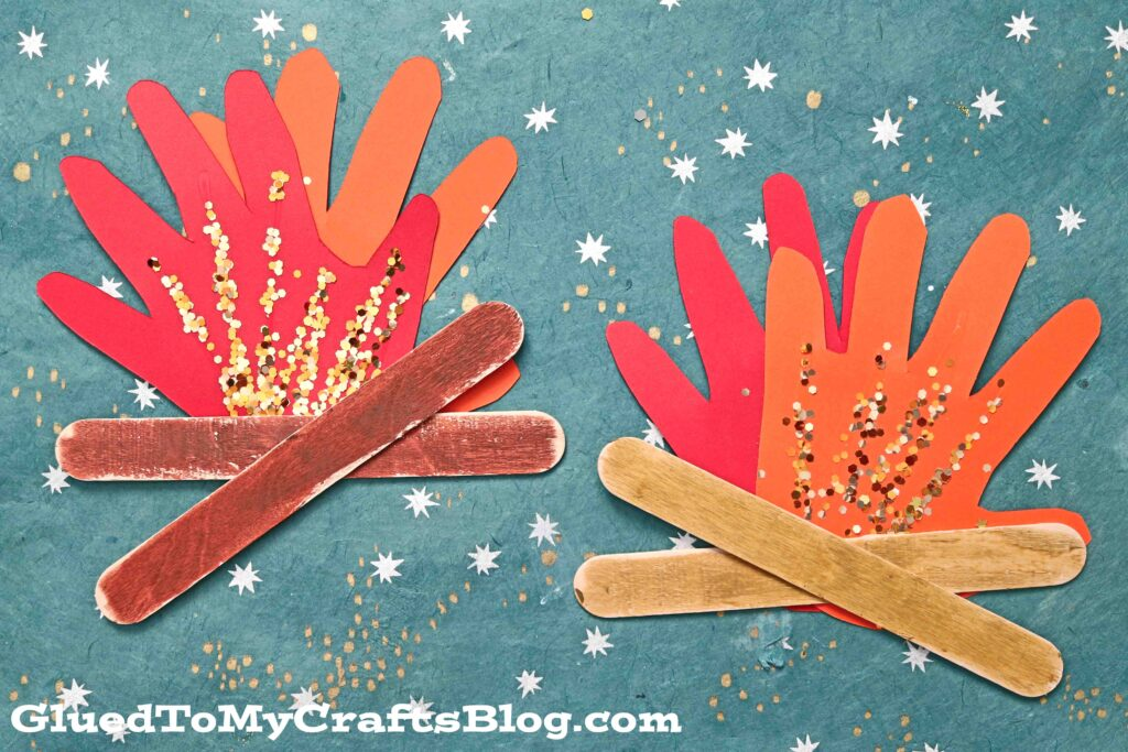 Handprint Popsicle Stick Campfire - Summer Kid Craft