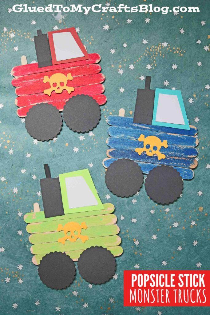 Popsicle Stick Monster Trucks - Kid Craft Idea For Boys!