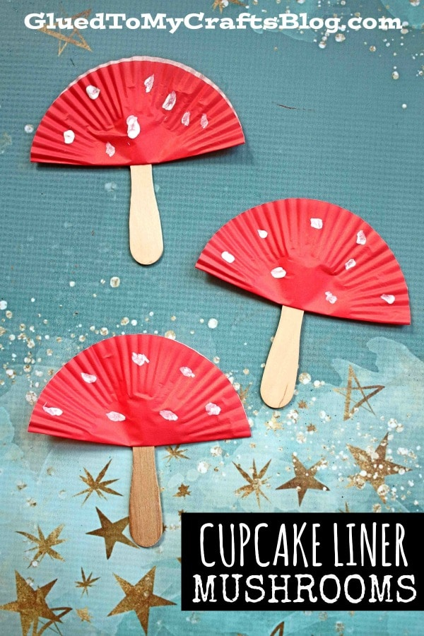 Cupcake Liner Mushrooms - Kid Craft Idea For Spring