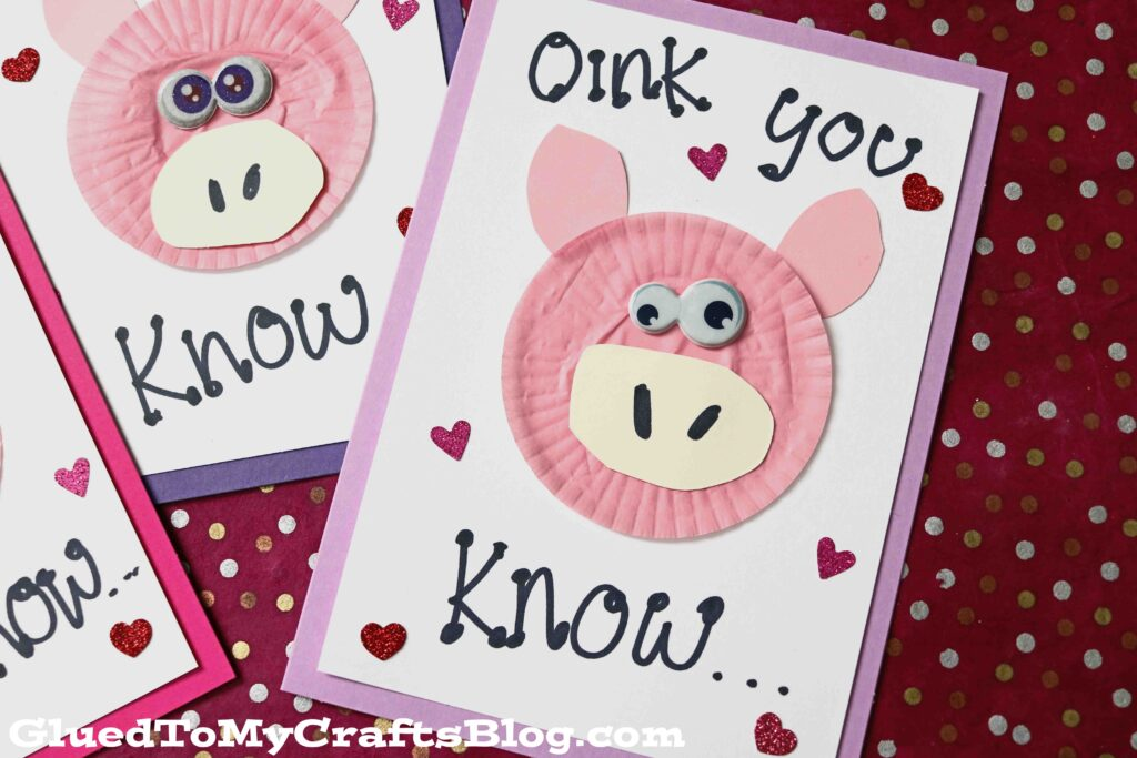 """""""Oink"""" Cupcake Liner Pig Card For Kids To Make Today!"""