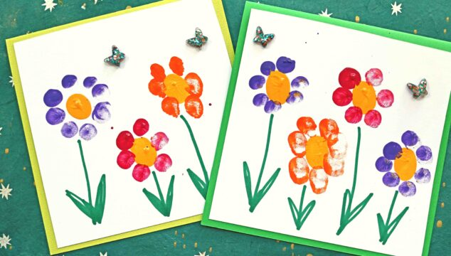 Fingerprint Flower Note Cards - Kid Craft