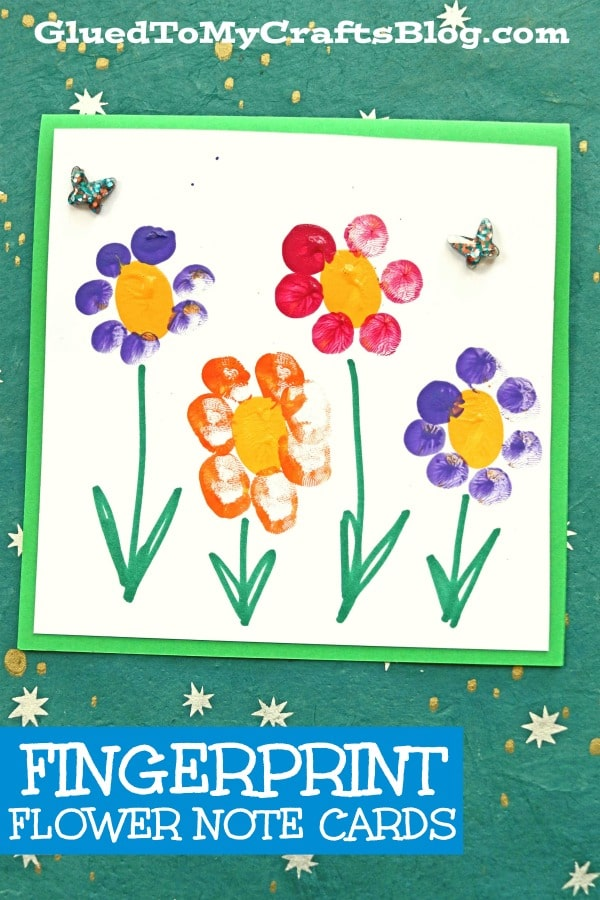 Fingerprint Flower Note Cards - Kid Craft Idea For Spring