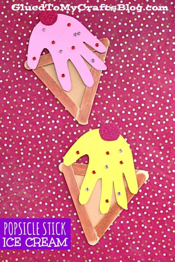 Handprint Popsicle Stick Ice Cream - Summer Kid Craft