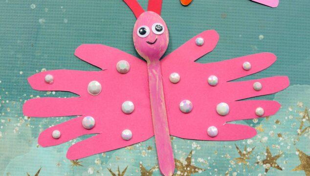 Handprint Wooden Spoon Butterflies - Kid Craft
