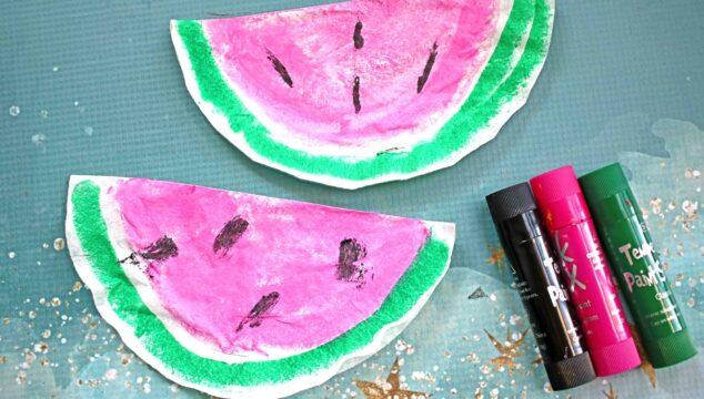 Coffee Filter Watermelon - Kid Craft Idea For Summer