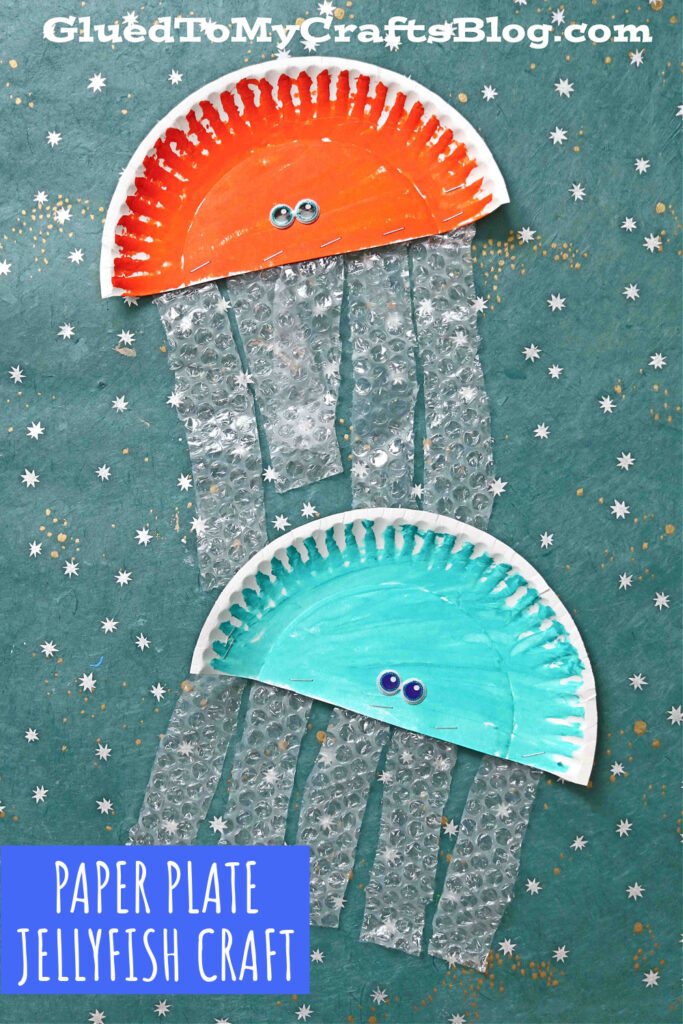 Paper Plate Bubble Wrap Jelly Fish - Kid Craft