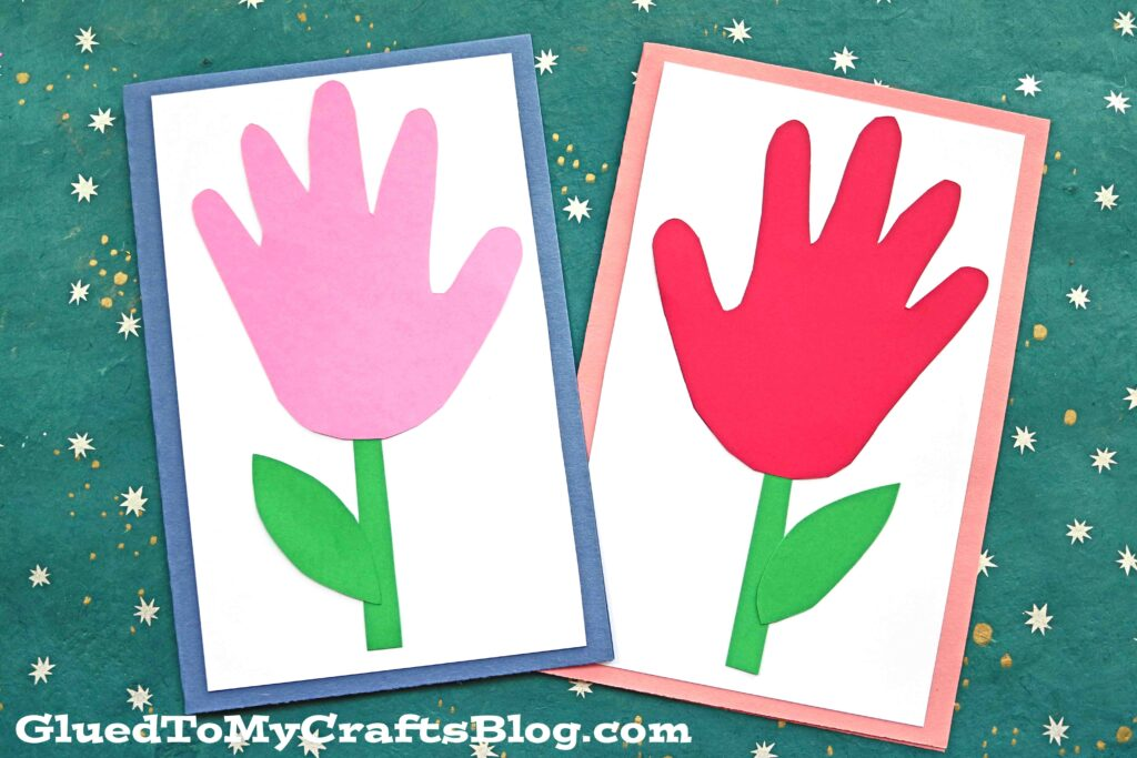 Handprint Flower Cards - Paper Kid Craft Idea For Spring