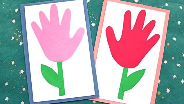 Handprint Flower Cards - Paper Kid Craft Idea For Spring