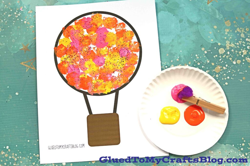 Pom Pom Painted Hot Air Balloon - Kid Craft