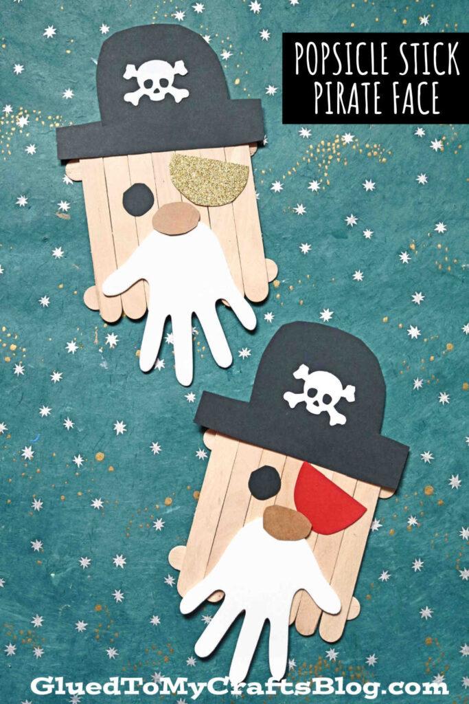 Popsicle Stick Pirate w/Handprint Beard - Kid Craft Idea