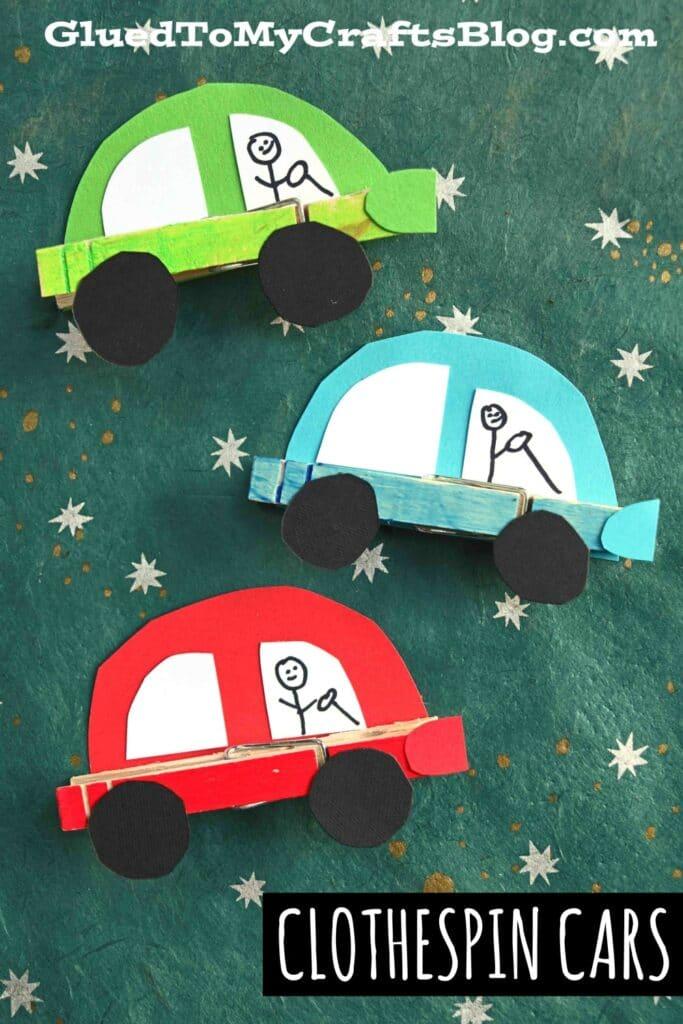 Paper & Clothespin Cars - Wheelie Fun Kid Craft Idea