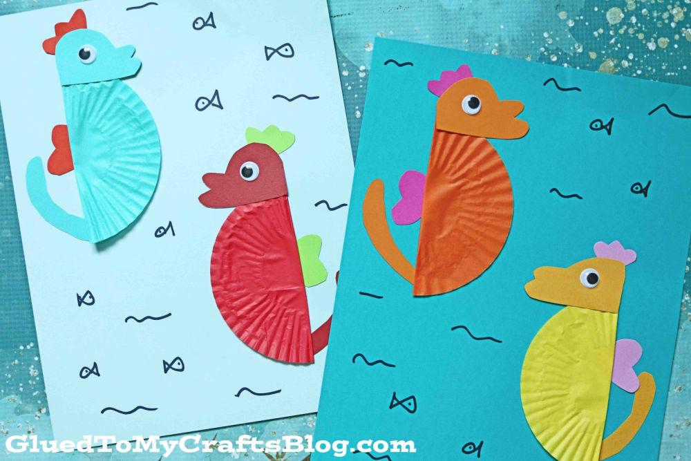Cupcake Liner Seahorse - Summer Kid Craft Idea