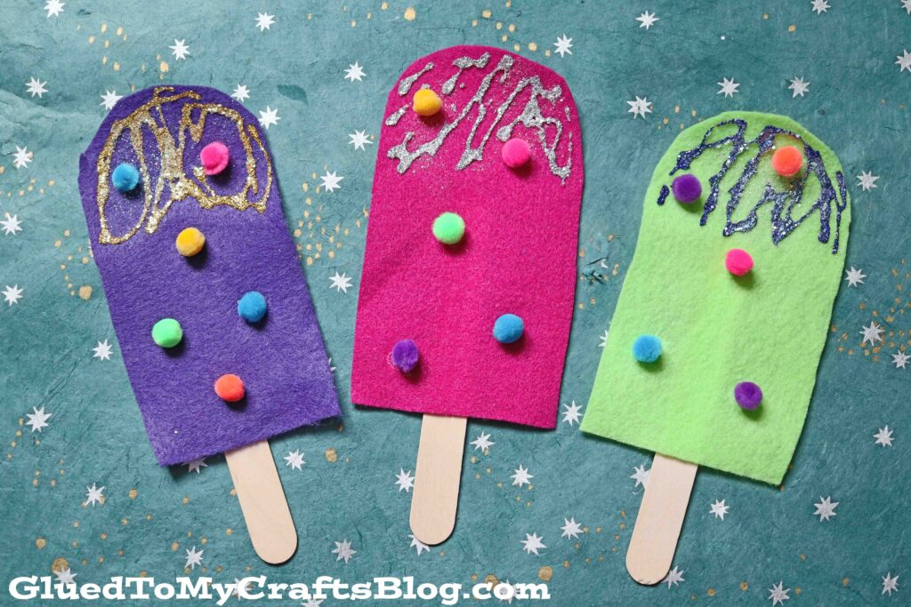 Felt Pretend Play Popsicles - Kid Craft Idea For Summer