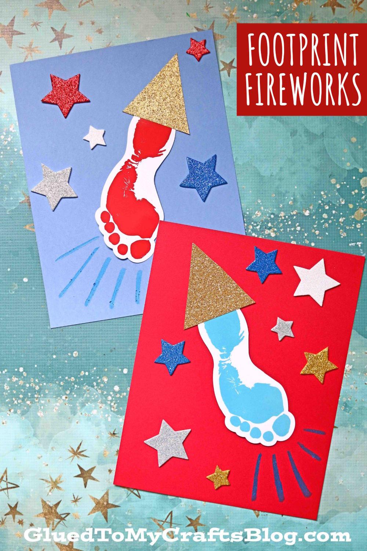 Footprint Firework - 4th of July Keepsake For Kids To Make