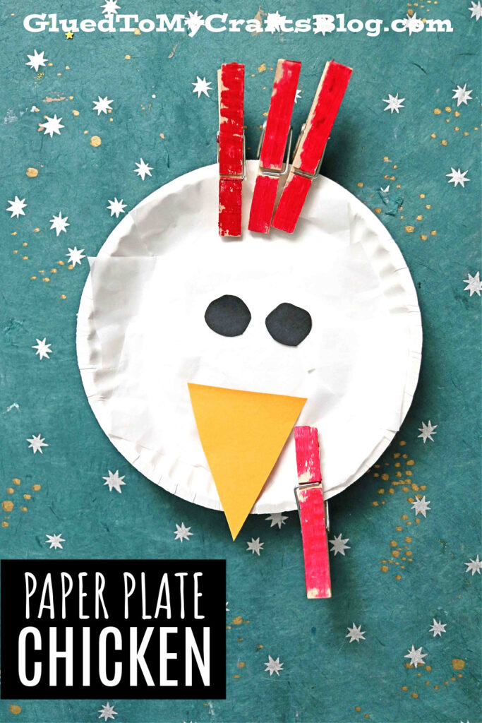 Paper Plate & Clothespin Chicken Craft For Kids To Make