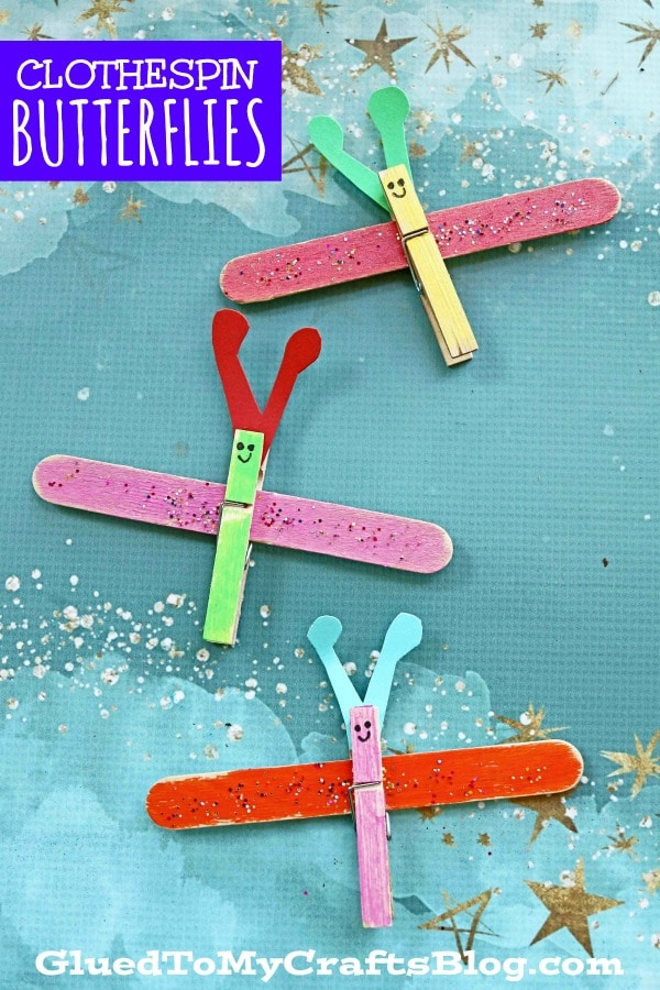 Clothespin & Popsicle Stick Butterflies - Art Project For Spring