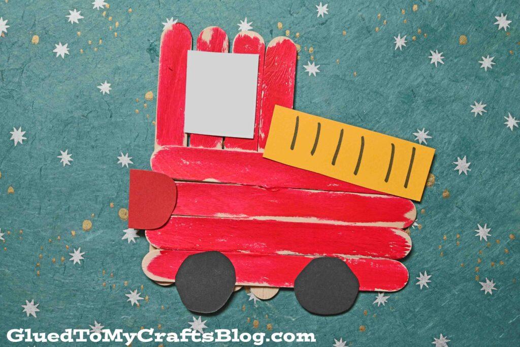 Popsicle Stick Firetruck - Super Easy Kid Craft Idea