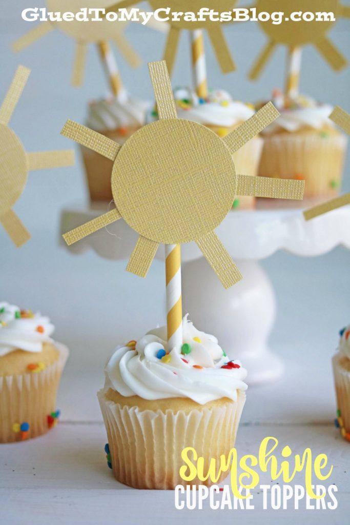 DIY Paper Sunshine Cupcake Toppers