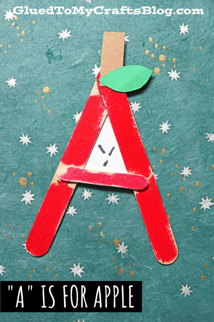 A is for Apple - Popsicle Stick Kid Craft Idea For Fall