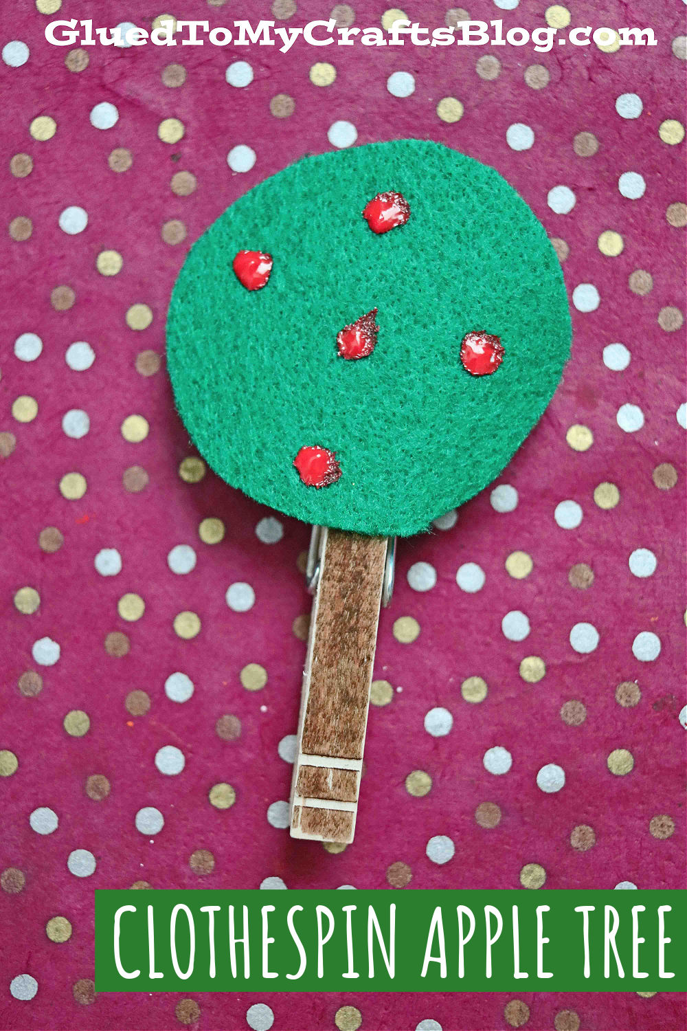 Clothespin and Craft Felt Apple Trees - Kid Craft For Fall