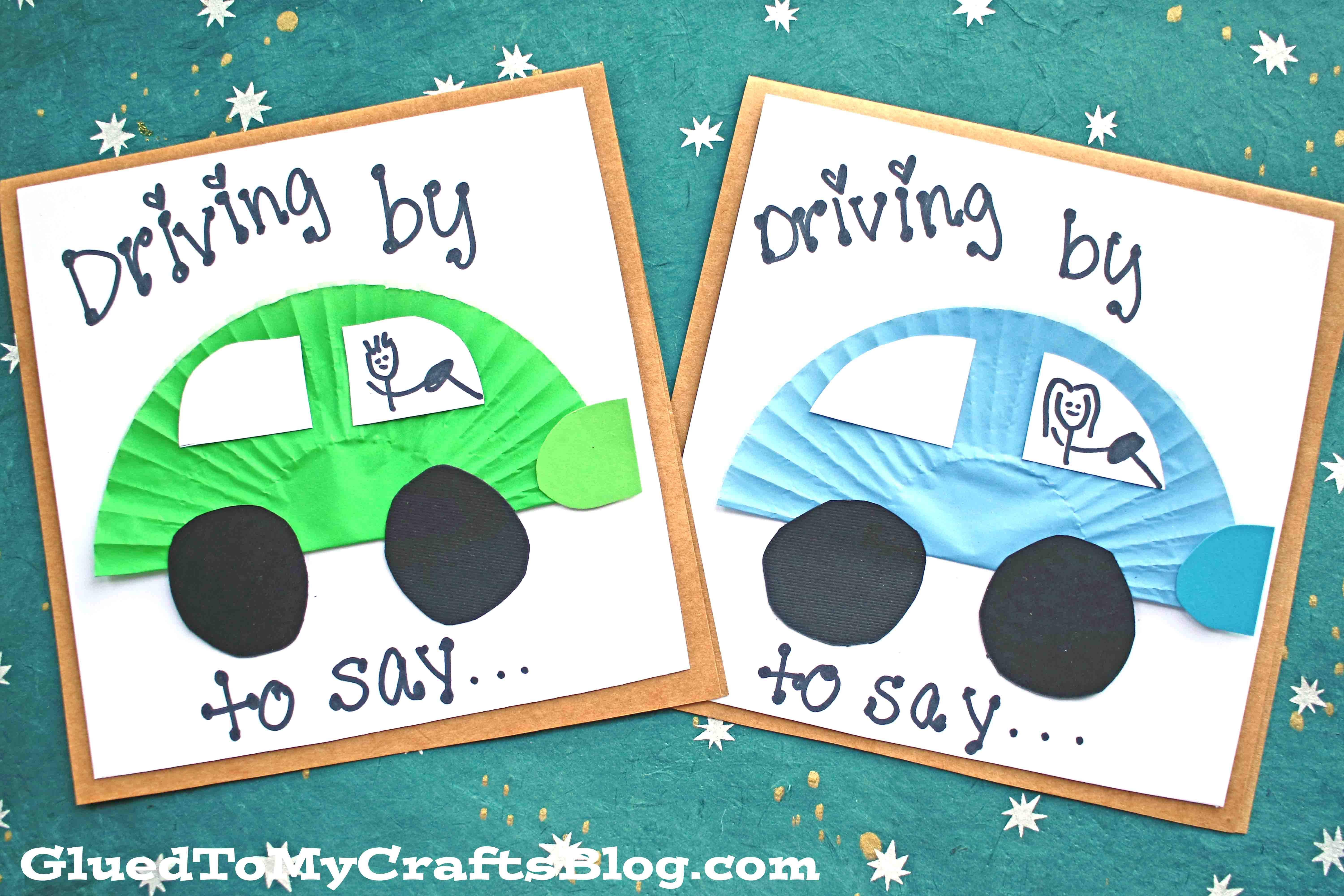 Handmade Cupcake Liner Car Cards - Kid Craft
