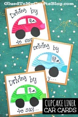 Handmade Cupcake Liner Car Cards - Kid Craft