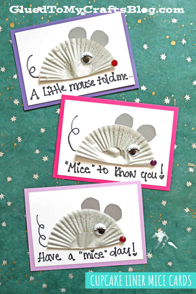 Cupcake Liner Mouse Card Craft Idea For Kids