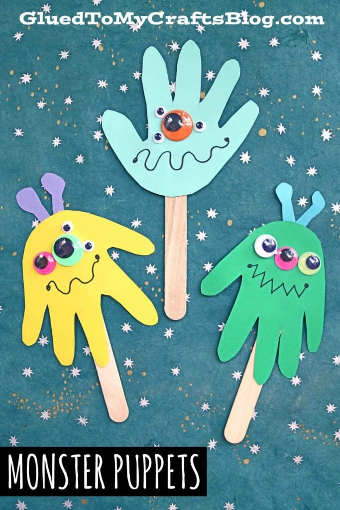 Mommy's Little Monster Handprint Puppets - Kid Craft