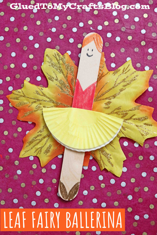 Popsicle Stick Leaf Fairy Ballerina Puppet - Kid Craft Idea