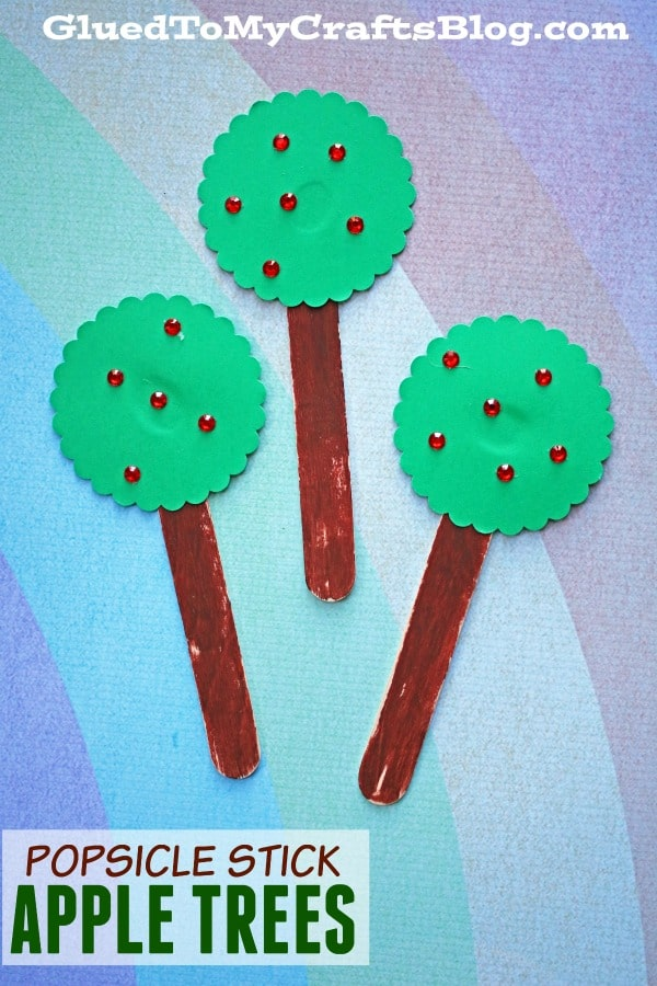 Popsicle Stick Apple Trees - Kid Craft Idea For Apple Picking Season!