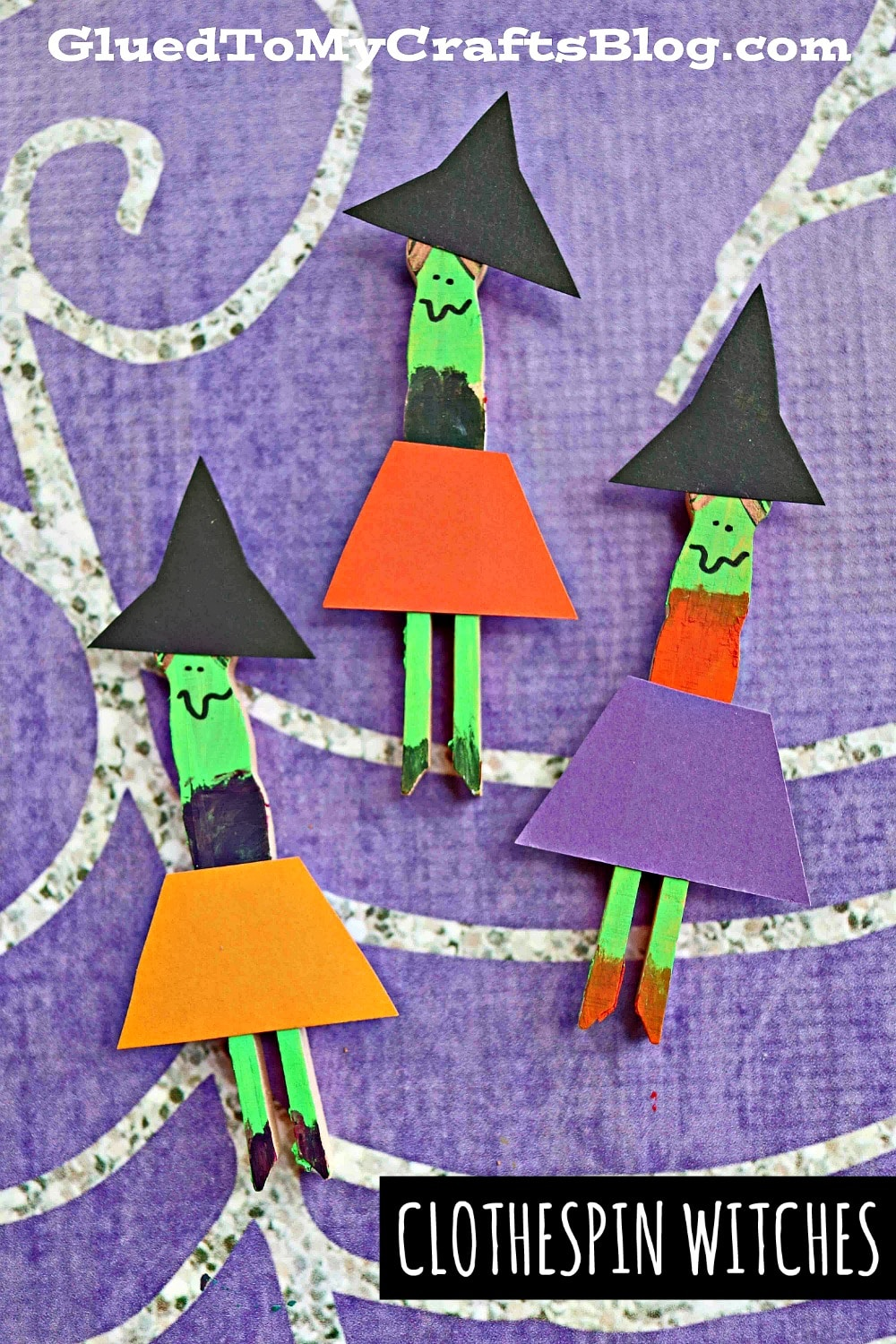 Flat Clothespin Witch Puppets - Halloween Kid Craft Idea