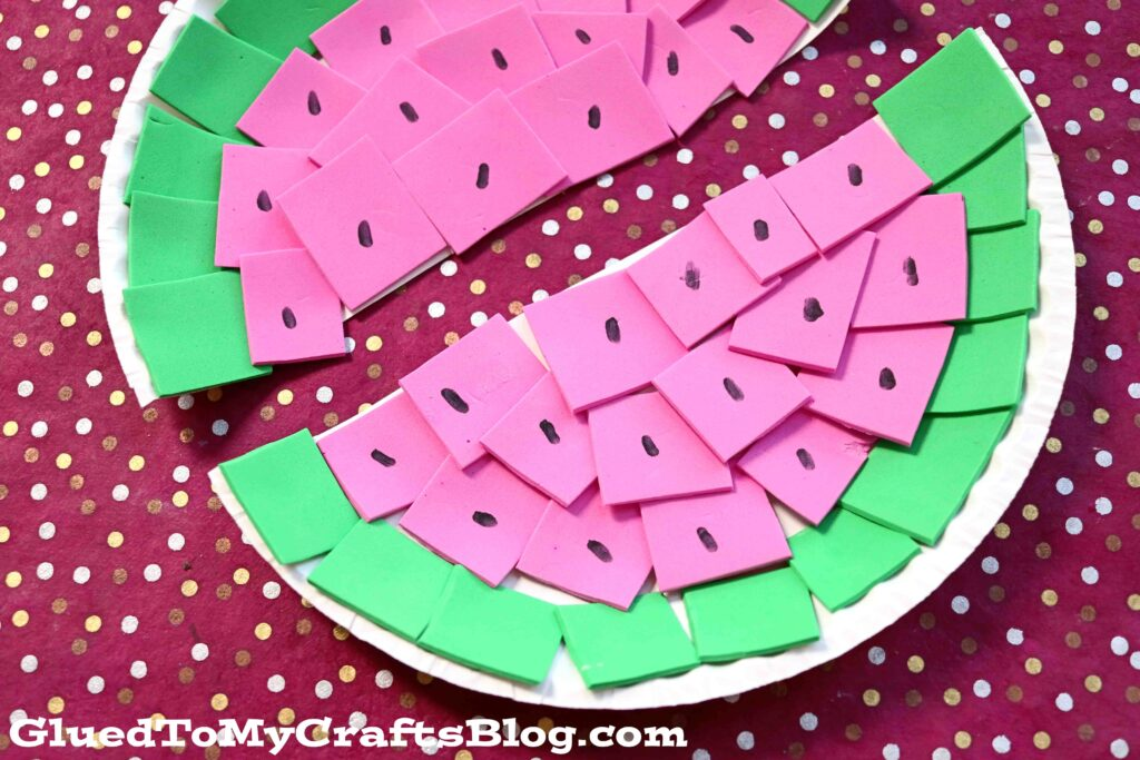 Paper Plate & Craft Foam Watermelon - Summer Kid Craft Idea