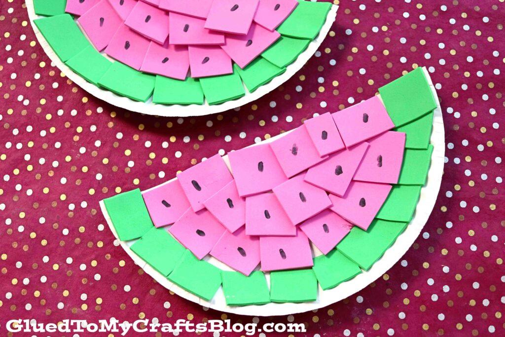 Paper Plate & Craft Foam Watermelon - Summer Kid Craft Idea