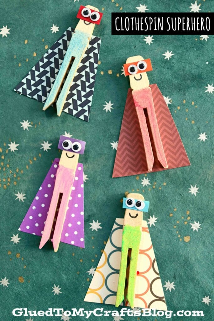 Flat Wood Clothespin Superhero Puppets - Kid Craft