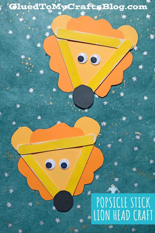 Popsicle Stick Lion Head - Kid Craft Idea
