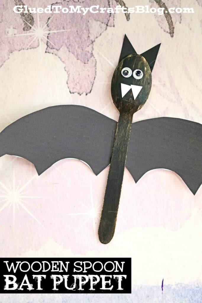 Wooden Spoon Bat Puppet - Halloween Kid Craft Idea