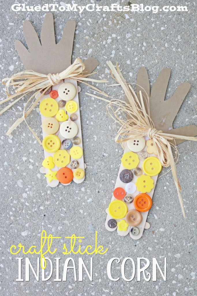 Popsicle Stick Button Indian Corn - Kid Craft