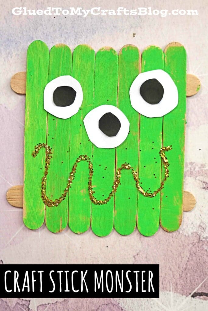 Popsicle Stick Monster - Halloween Craft Idea For Kids