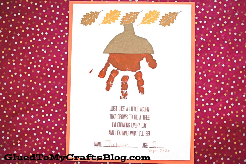 Handprint Acorn Poem - Free Printable