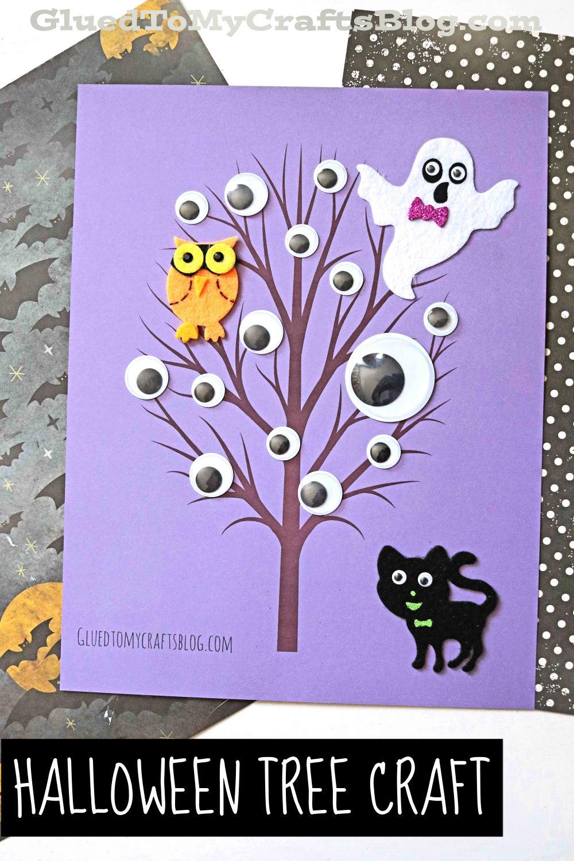 Spooky Halloween Eyeball Tree On Paper - Kid Craft