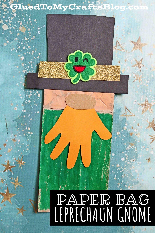 Paper Bag Leprechaun Gnome Puppet - Kid Craft