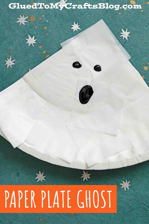 Tissue Paper & Paper Plate Ghosts - Halloween Kid Craft