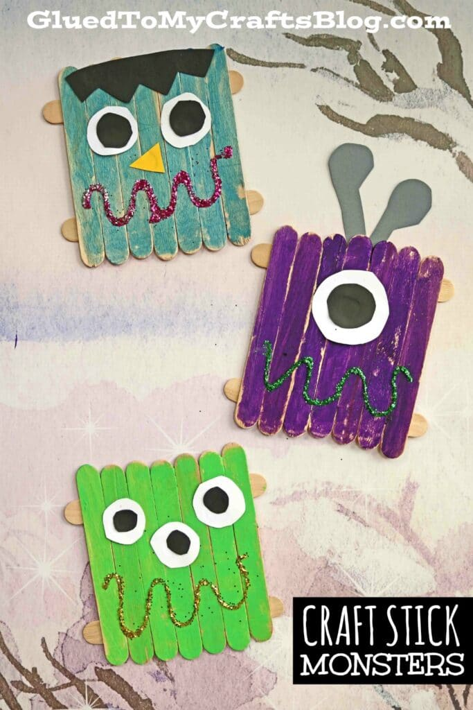 Craft Stick Monsters - Halloween Kid Craft Tutorial