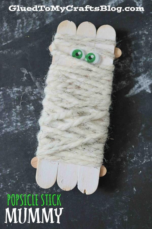 Popsicle Stick And Yarn Mummy - Kid Craft Idea