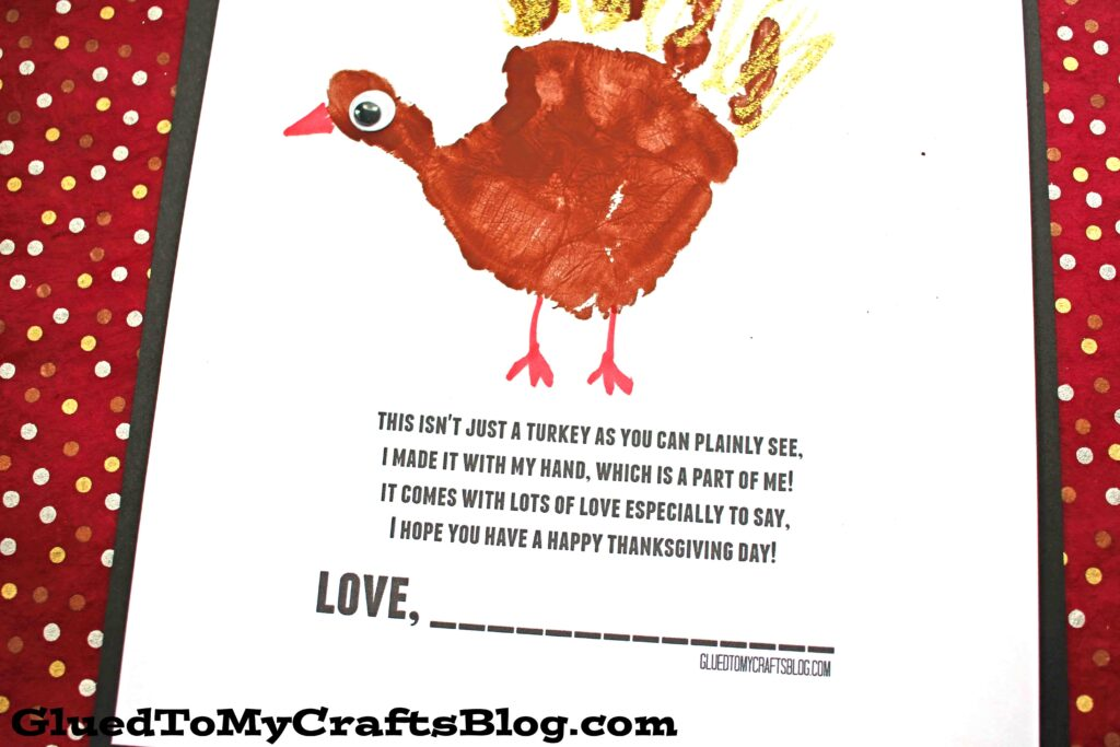 Handprint Turkey Poem - Free Printable