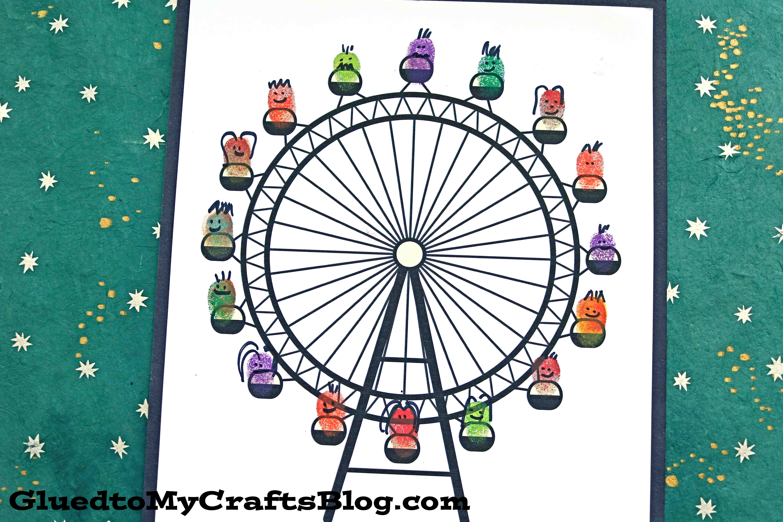 Thumbprint Ferris Wheel Kid Craft Idea W Free Printable