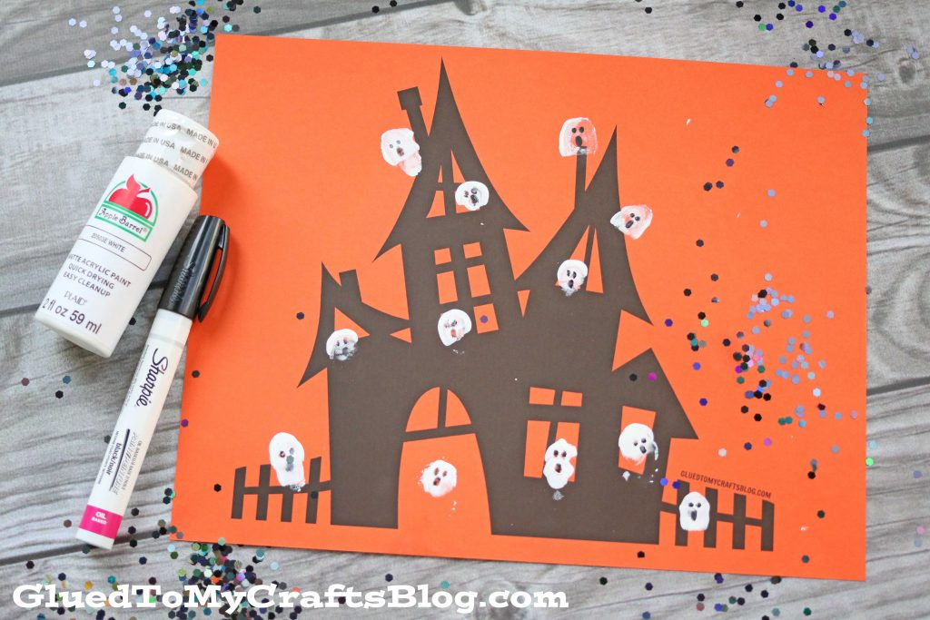 Thumbprint Ghost Haunted House - Kid Craft Idea w/free printable