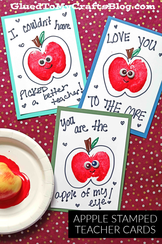 Apple Stamped Teacher Appreciation Cards For Kids To Make